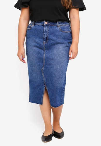 LOST INK PLUS blue Plus Size Denim Pencil Skirt In Mid Blue D9F2FAA7CACB6FGS_1