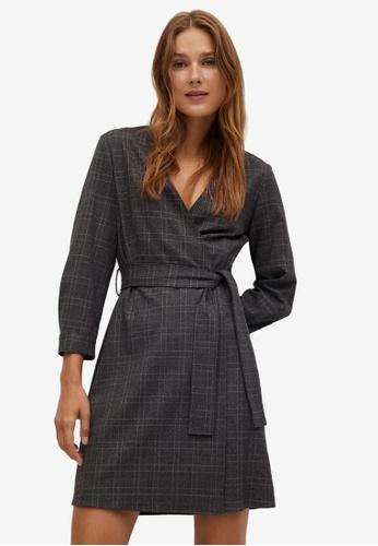 Mango grey Belt Wrap Dress 58FD4AA72546FEGS_1