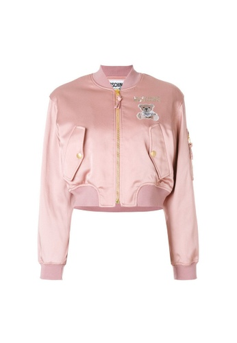 Moschino pink Moschino Teddy Bear Logo Ribbed Round Neck Jacket in Pink,White,Green 65926AA8DDF15FGS_1