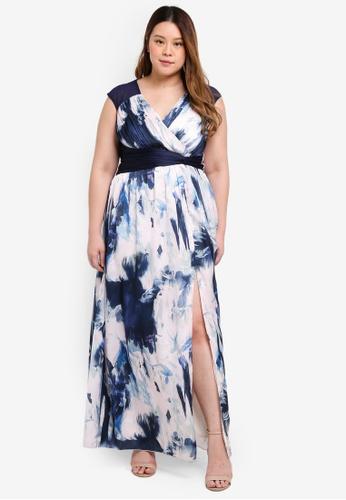 Little Mistress multi Plus Size Blur Print Maxi Dress 02B2DAAA0654FCGS_1