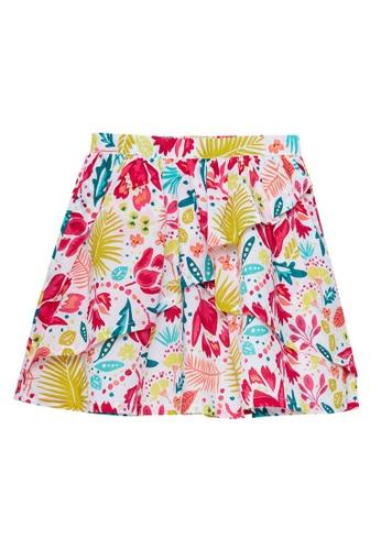 Du Pareil Au Même (DPAM) white and multi Frill Print Skirt C37E0KA38CE135GS_1