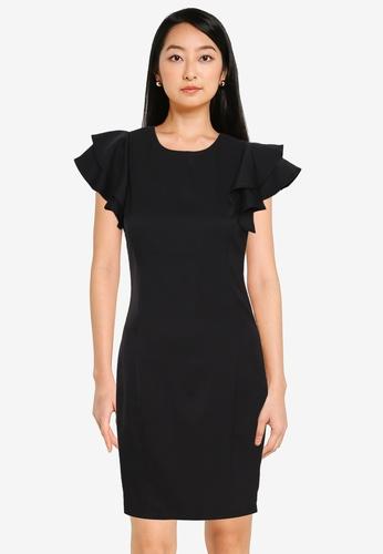 ZALORA WORK black Ruffle Sleeve Shift Dress 967A4AA722AEA8GS_1
