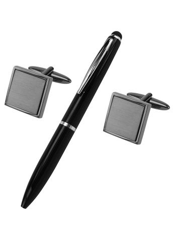 CUFF IT black Brushed Gunmetal Square Cufflinks and Pen Set DB8FEAC50EBB9EGS_1