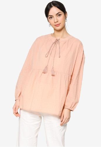 ZALIA BASICS pink Tassel Tie Front Blouse AD20FAA04D666BGS_1