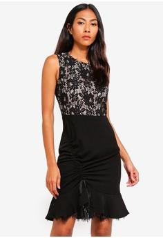 58ce1d39419c BYSI black Lace Trim Ruched Dress A0D2CAAE43E034GS 1