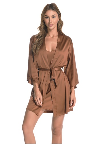 LYCKA brown LCB2162-Lady Sexy Robe and Inner Lingerie Sets-Brown 94B50USC2F6429GS_1