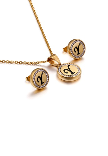 Glamorousky white Fashion and Simple Plated Gold English Alphabet Y Geometric Round Cubic Zirconia with 316L Stainless Steel Necklace and Stud Earrings Set 18991AC89874D3GS_1