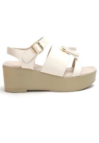 Crystal Korea Fashion beige Korean Tasseled Summer Sandals 0D087SHAA329C8GS_1