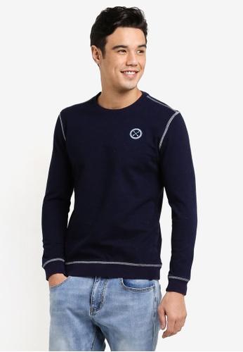 JAXON navy Crew Neck Logo Sweatshirt 5A7CFAA5975F37GS_1