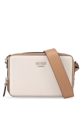 Guess Brown And Beige Dania Mini Crossbody Top Zip Bag 21e46aca700e57gs 1