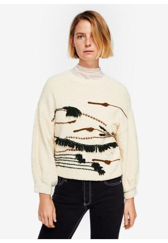 Mango beige Textured Embroidered Sweater 6892FAA9F8740FGS_1