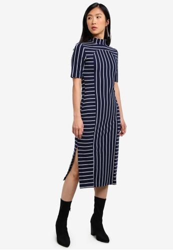 ZALORA navy Placement Stripe Column Dress B442EZZD20FB3CGS_1