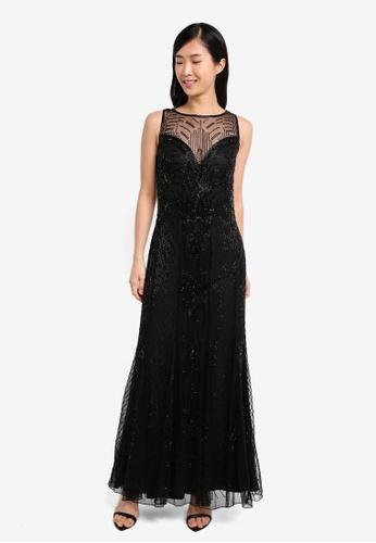 Miss Selfridge black Premium Decorative Jasmine Maxi Dress MI665AA0SS6DMY_1