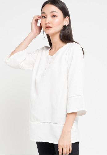 SIMPLICITY white Plain Blouse 278A6AAEAC756DGS_1