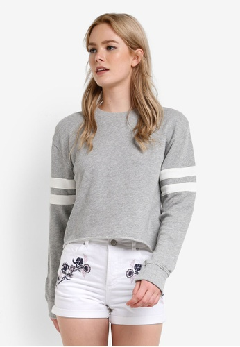 Miss Selfridge grey Grey Stripe Sleeve Sweatshirt MI665AA73DEWMY_1