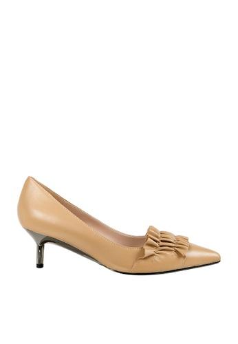 eq:iq brown eqGLORIA Kidskin Ruffle Kitten Heels EQ351SH0FVAZSG_1