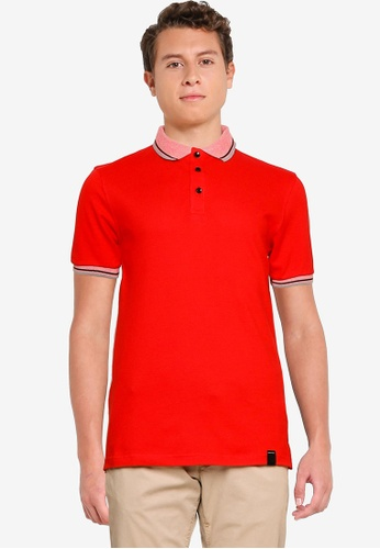 UniqTee red Polo Shirt with Collar and Cuff 734EFAAB6A4154GS_1