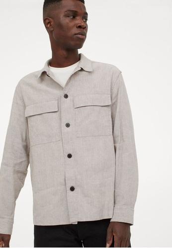 H&M beige Linen-Blend Shirt A75FCAA0921538GS_1