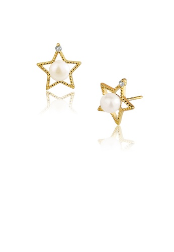Glamorousky white 925 Sterling Silver Plated Gold Simple Fashion Star Freshwater Pearl Stud Earrings with Cubic Zirconia 54FF9AC9E7EEB3GS_1
