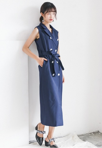 Shopsfashion navy Midi Trench Dress in Navy SH656AA0GHE5SG_1