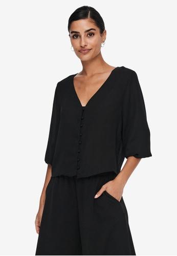 JACQUELINE DE YONG black Hermine Long Sleeves Short Button Shirt 3D364AAE8748B7GS_1