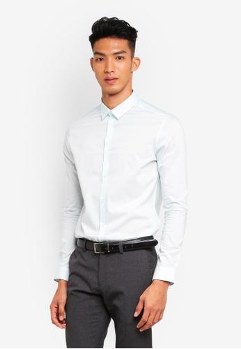 Burton Menswear London 綠色 修身長袖襯衫 69B24AAA2431FCGS_1