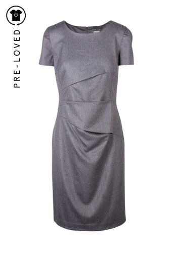 Donna Karan grey Pre-Loved donna karan Grey Wool Pleated Round Neck Sleeved Dress 21A11AA5F29257GS_1
