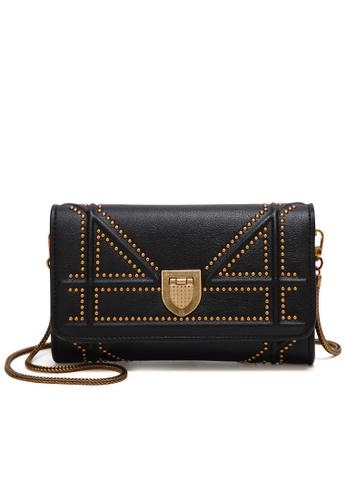 Lara black Women's Rivet Chain Sling Bag 36F22AC872210BGS_1