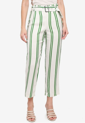 TOPSHOP green Stripe Tapered Trousers 885FDAA56D1F06GS_1