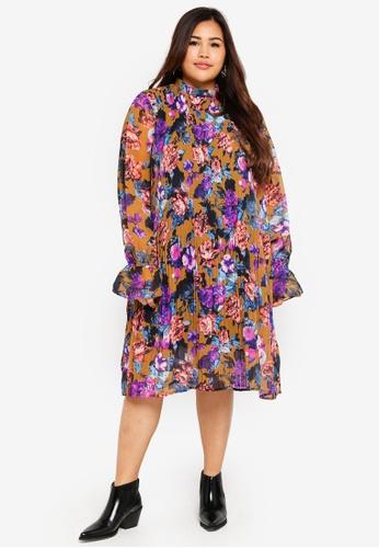 adbd5d46914c0 Buy ELVI Plus Size Suzie Pleated High Neck Dress Online on ZALORA ...
