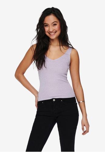 JACQUELINE DE YONG purple V-Neck Sleeveless Top 39B83AA80755D1GS_1