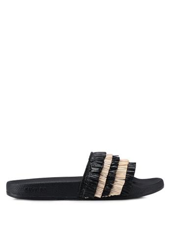 Slydes 黑色 層次流蘇拖鞋 B627DSHCB12FFBGS_1