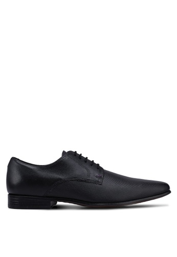 Burton Menswear London black Black Leather Formal Lace Up Shoes With Embossed Detailing BCE07SHD3E014BGS_1