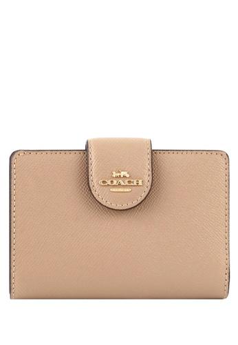 COACH beige Coach Medium Corner Zip Wallet - Beige 364FCACC157DC5GS_1