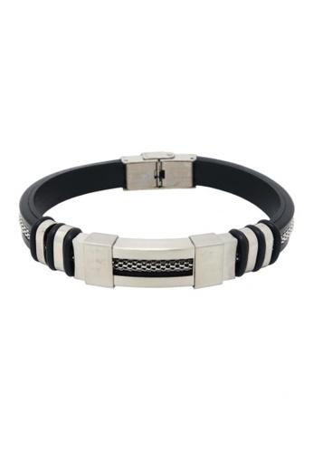 Jaysa Collection black Urban Chic Men's Bracelet With Silicon Strap JA875AC60ZRVSG_1