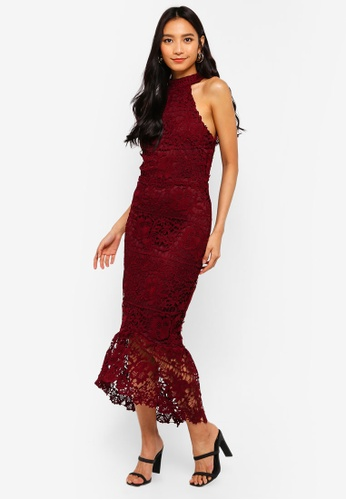 MISSGUIDED red High Neck Lace Midi Dress 96CD0AA8F343EEGS_1