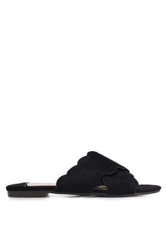 Velvet black Scallop Slip On Sandals E71F3SHFDAC304GS_1