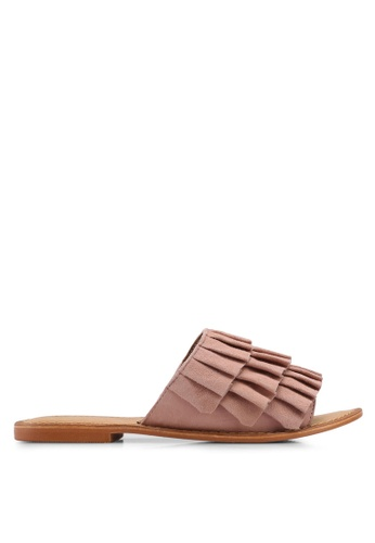 Vero Moda beige Cammi Leather Sandals D358ASHAF678F6GS_1