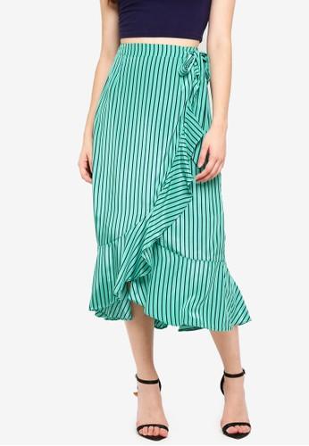 Glamorous green and multi Green Navy Stripe Skirt 7D750AA07C20D4GS_1