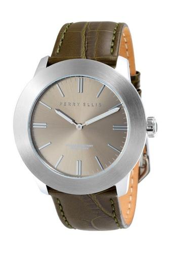 PERRY ELLIS brown Perry Ellis Slim Line Men 46mm Quartz Watch 03010-01 A8B91ACE9A6894GS_1