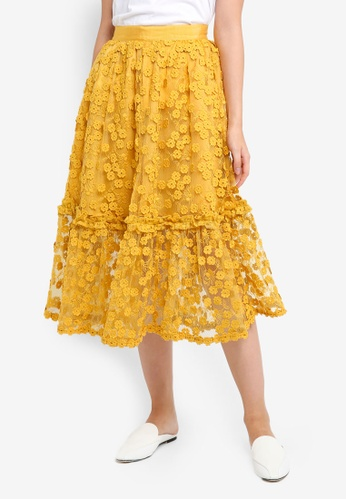 French Connection yellow Caballo Lace Flared Skirt 442ACAA4EBAE34GS_1