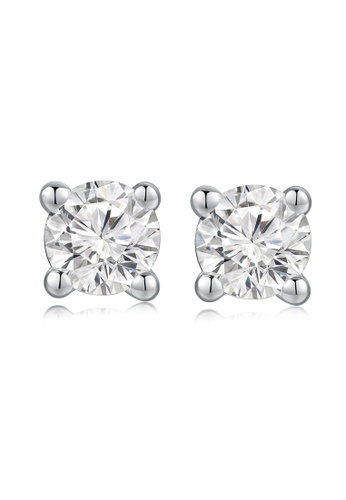 MaBelle silver 18K/750 White Gold Single Diamond Earrings 550C7AC266664BGS_1