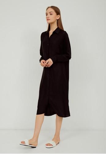 Boss Babe the Label black Ashlyn Oversized Maxi Shirt Dress in Black F6928AA898EBC6GS_1