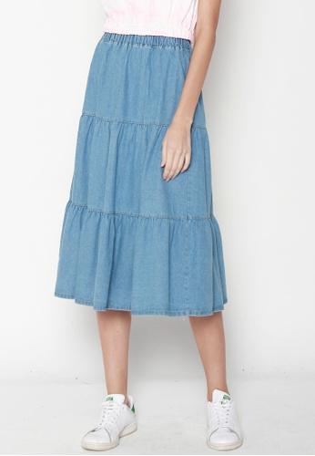 JOVET 藍色 Tiered Denim Skirt DBDBDAA1773E78GS_1