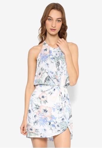 裹飾束腰繞脖印花洋裝, 服飾, esprit outlet 台中洋裝