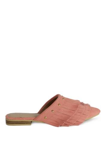 RAG & CO pink Marissa Suede Fringe Mules RCSH-07 265C6SH0D4EC0BGS_1