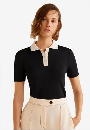 Mango black Contrast Collar T-Shirt 170D5AA56C4507GS_1