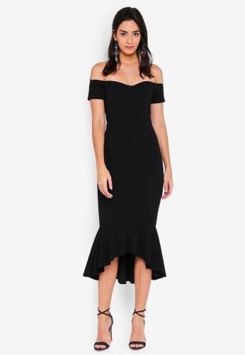 super popular b075e da7bc MISSGUIDED black Bardot Fishtail Hem Midi Dress A7BFAAA837B69EGS 1