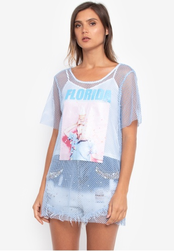 NOBASIC blue Mesh Printed T-shirt A9652AAD2D01B3GS_1
