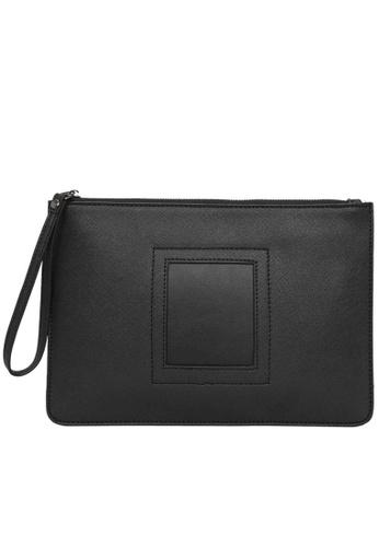 Lara black Plain Zipper Hand Bag - Black E4D90AC93490D6GS_1
